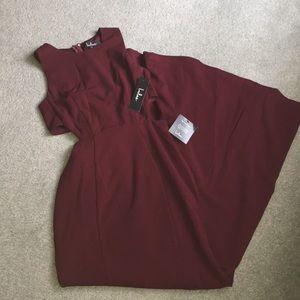 LuLu's burgundy maxi cut off dress